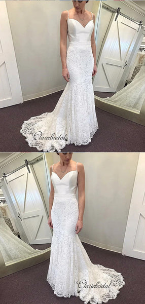 Spaghetti Straps Wedding Dresses, Mermaid Lace Wedding Dresses