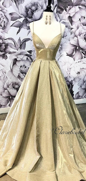 Spaghetti Straps V-neck Long Prom Dresses, 2020 Newest A-line Prom Dresses