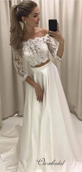 Two Pieces Lace Wedding Dresses, 2020 A-line Bridal Gowns, Wedding Dresses