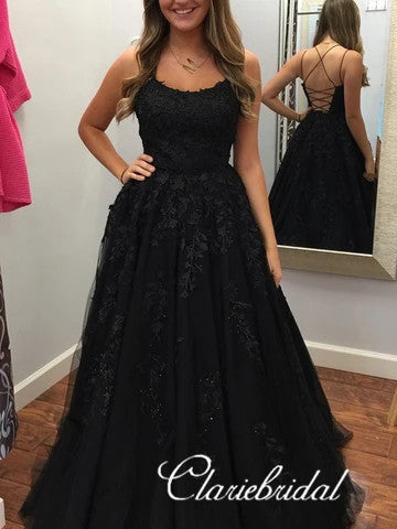 Black Lace Tulle Long Prom Dresses, Lace Up Prom Dresses, Popular 2020 Prom Dresses