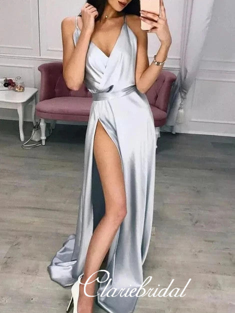 V-neck Long Prom Dresses, High Slit Prom Dresses, Simple Prom Dresses, Popular Prom Dresses