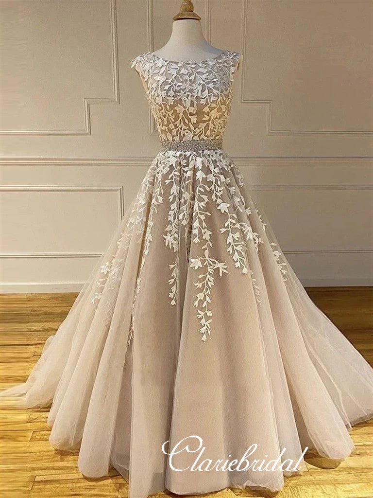 Round Neck Lace Tulle Prom Dresses, Beaded Prom Dresses, Long Prom Dresses
