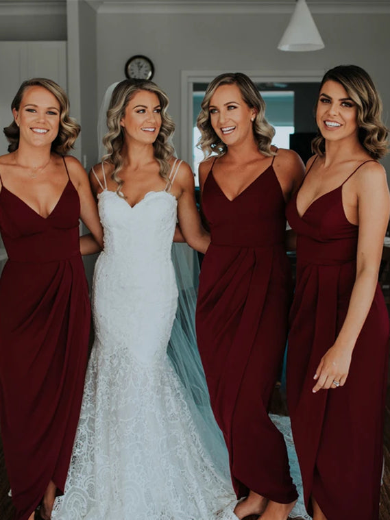 Burgundy Jersey Side Slit Bridesmaid Dresses, 2020 Bridesmaid Dresses, Long Bridesmaid Dresses