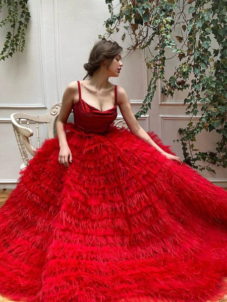 Straps Long A-line Red Tulle Feathers Prom Dresses, Luxury Ball Gown, 2020 Prom Dresses