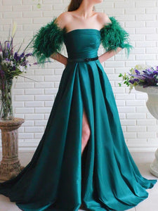 Strapless Long A-line Satin Prom Dresses With Feather Sleeves, Side Slit Prom Dresses, Newest Prom Dresses