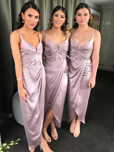 Spaghetti Long Sheath Bridesmaid Dresses, Side Slit Bridesmaid Dresses, Long Bridesmaid Dresses