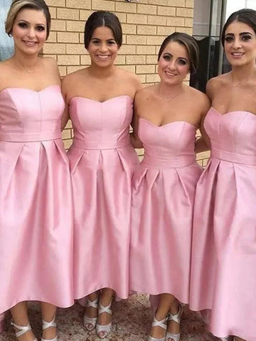Sweetheart Long Hi-low Pink Satin Bridesmaid Dresses, Simple Bridesmaid Dresses, Long Bridesmaid Dresses