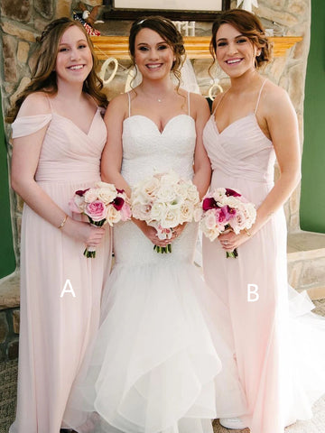 Mismatched Long A-line Blush Pink Chiffon Bridesmaid Dresses, Long Bridesmaid Dresses, Simple Bridesmaid Dresses