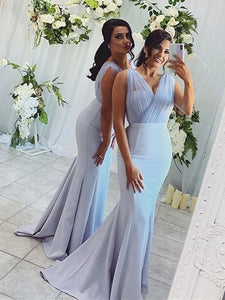 New Arrival Blue Jersey Tulle Bridesmaid Dresses, Long Mermaid Bridesmaid Dresses, Popular Bridesmaid Dresses