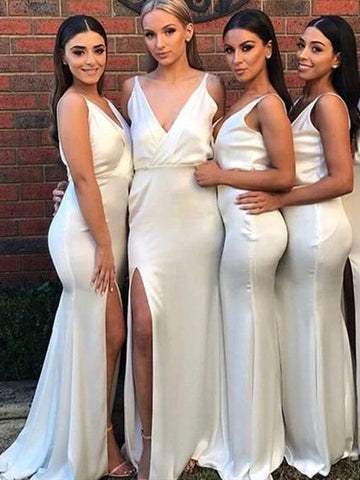 Deep V-neck Long Mermaid Elastic Satin Bridesmaid Dresses, Ivory Bridesmaid Dresses, Side Slit Bridesmaid Dresses