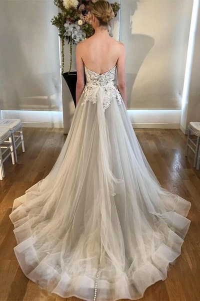 Sweetheart Long A-line Lace Wedding Dresses, Light Grey Wedding Dresses, Popular Bridal Gown