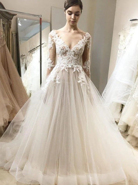 V-neck Long Sleeves Lace Tulle Wedding Dresses, Long Bridal Gown, 2020 Wedding Dresses