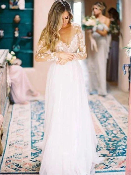 Ivory Lace Appliques Chiffon Wedding Dresses, Simple Long Wedding Dresses, Bridal Gown