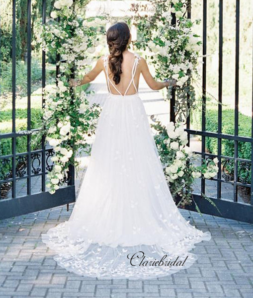 Deep V-neck Elegant Wedding Dresses, Popular Appliques Wedding Dresses