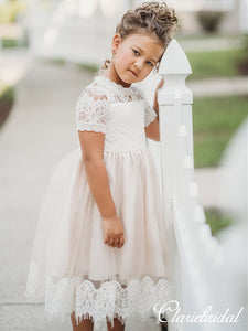 Short Lace Tulle Lovely Flower Girl Dresses