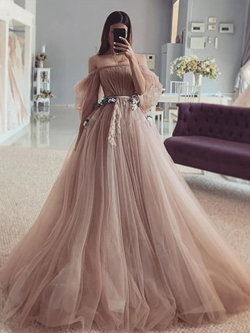 Off Shoulder Dark Nude Tulle Wedding Dresses, Country Wedding Dresses, 2021 Wedding Dresses, Bridal Gown