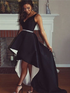 V-neck Hi-Low Black Satin Prom Dresses With Beaded Belt, Chic Prom Dresses, Long Prom Dresses