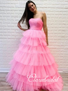 Strapless Pink Layered Tulle Prom Dresses, Lovely Prom Dresses, Popular 2020 Prom Dresses