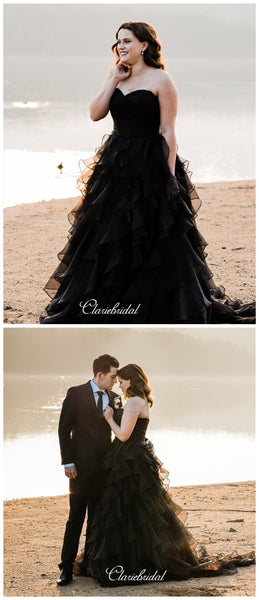 Sweetheart Black Wedding Dresses, Strapless Unique Wedding Dresses