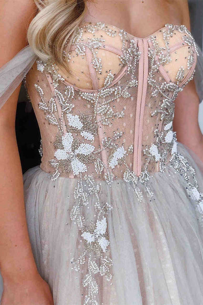 Off Shoulder A-line Prom Dresses, Lace Appliques Beaded Prom Evening Dresses