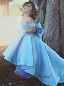 Off The Shoulder A-line Flower Girl Dresses, Satin Princess Wedding Girl Dresses