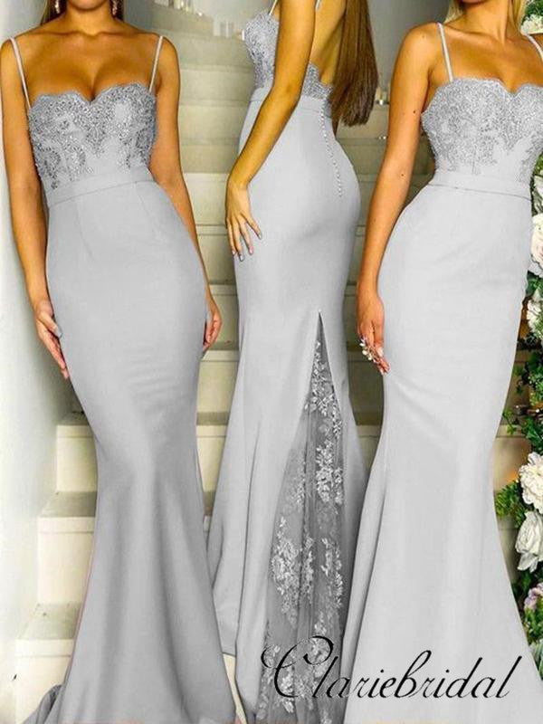 Spaghetti Long Mermaid Grey Lace Beaded Bridesmaid Dresses