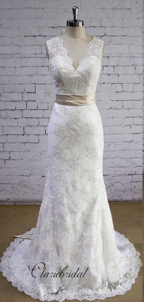 V-back Design Full Lace Wedding Dresses, Elegant Mermaid Bridal Gowns, Fancy Wedding Dresses