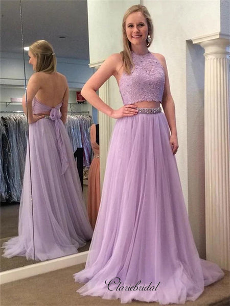 Two Pieces A-line Prom Dresses, Beaded Long Prom Dresses