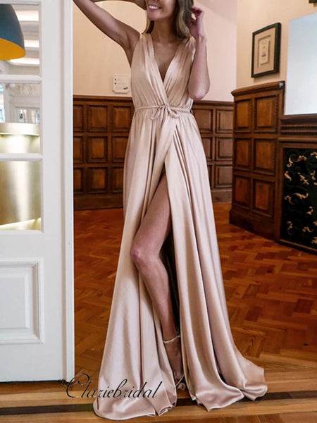 2020 Newest Long Prom Dresses, V-neck Prom Dresses, Popular Prom Dresses