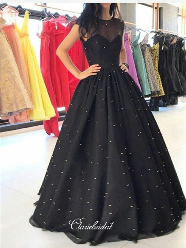 Cap Sleeves Prom Dresses Long, A-line Prom Dresses, Pearls Prom Dresses