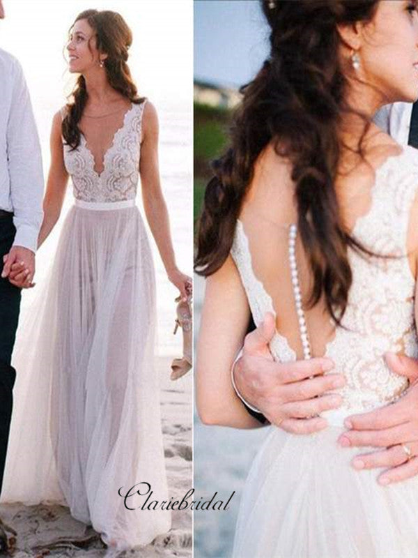 Popular V-neck Lace Tulle Long A-line Beach Wedding Dresses