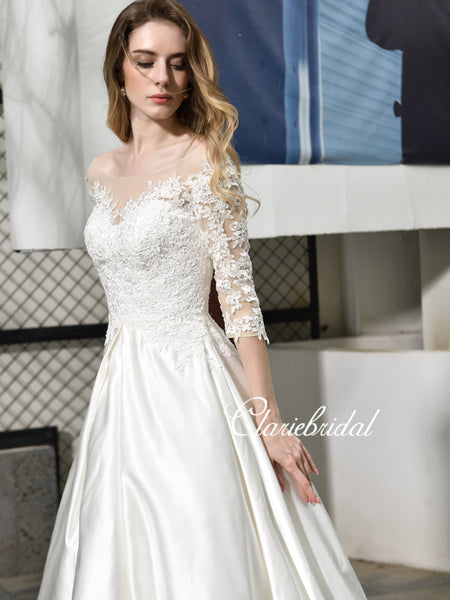 Half Sleeves Lace Satin Wedding Dresses, Long Wedding Dresses, Ivory Satin Lace Wedding Dresses