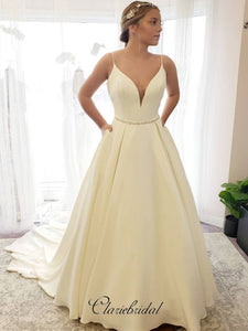 Ivory Spaghetti Straps Wedding Dresses, A-line Popular Wedding Dresses
