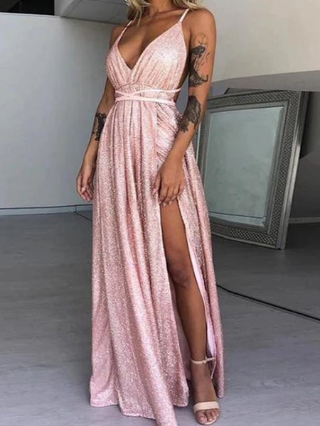 Spaghetti Straps Sequins Long Prom Dresses, Affordable Newest Prom Dresses