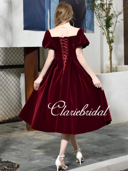Short Sleeves Velvet Prom Dresses, Vintage Prom Dresses, Affordable Prom Dresses