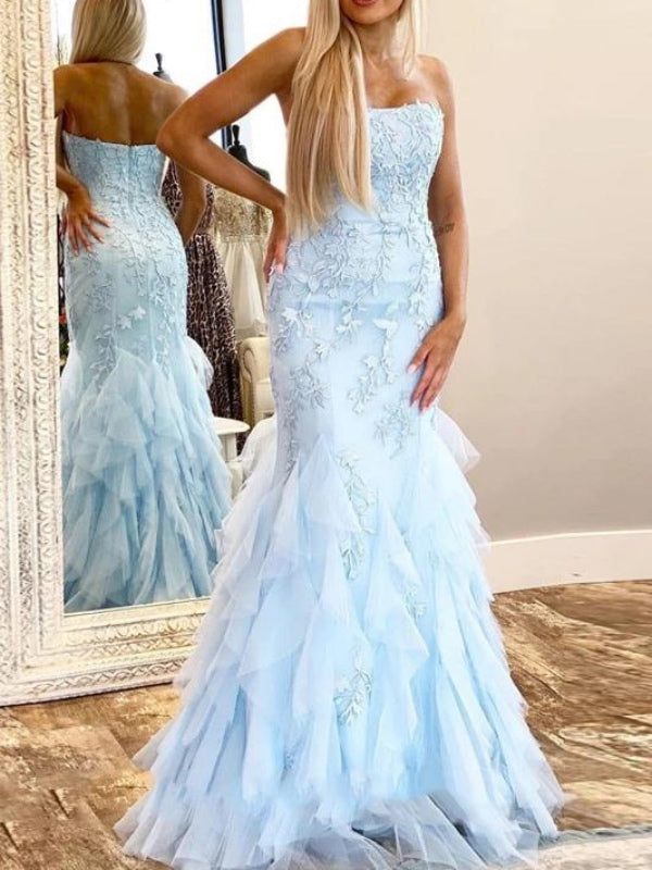 Popular Lace Prom Dresses, Mermaid Long Prom Dresses, Blue Evening Party Dresses