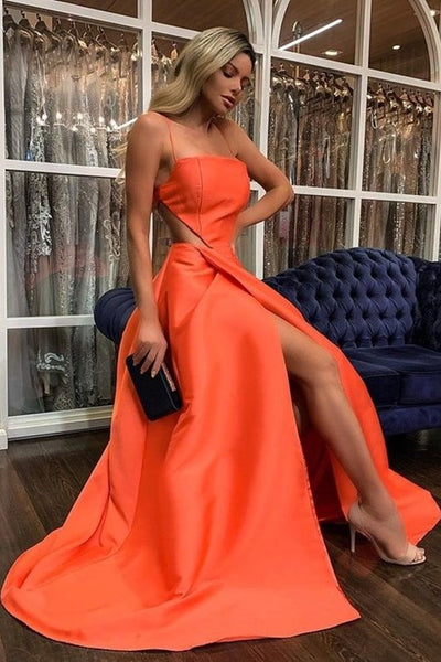 A Line Sexy Satin Long Prom Dresses, High Side Slit 2021 Prom Dresses, Graduation Party Dresses