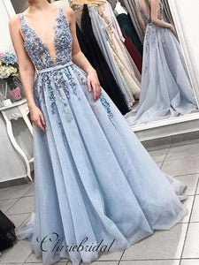 Sexy Deep V-neck Beaded Long Prom Dresses, A-line New Prom Dresses