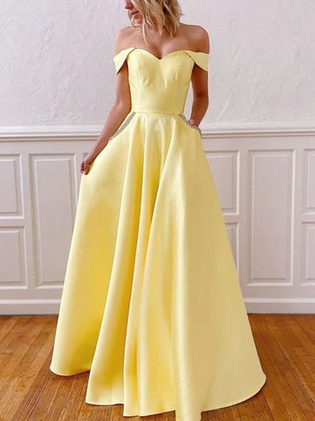 Off The Shoulder Yellow Satin Long Prom Dresses, Beaded Prom Dresses With Pocket