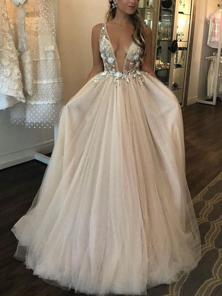 Deep V-neck Beaded Tulle Prom Dresses, Elegant Floral 2020 Newest Long Prom Dresses