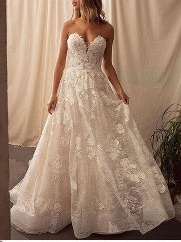 Strapless A-line Wedding Dresses, 2020 Sweetheart Lace Wedding Dresses