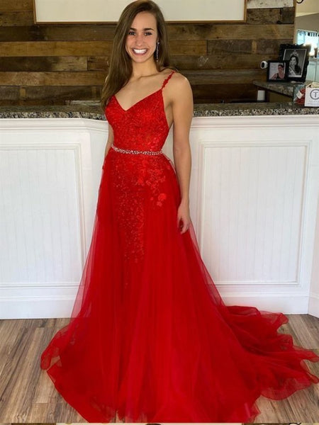 Red Mermaid Lace Formal Evening Dresses, V-neck Elegant Lace Long Prom Dresses