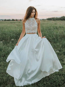 Two Pieces Lace Wedding Dresses, A-line 2020 Wedding Dresses
