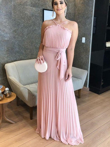 Sleeveless Chiffon Wedding Guest Dresses, 2020 Long Prom Dresses, Bridesmaid Dresses