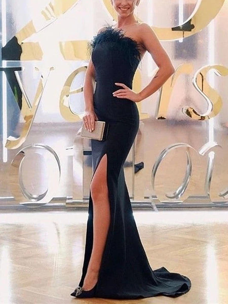 Mermaid Long Evening Party Prom Dresses, Strapless Prom Dresses, 2020 Prom Dresses