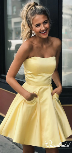Strapless Yellow Satin Short Homecoming Dresses With Pockets