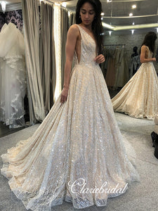 V-neck Sequin Tulle Long Bridal Gown, Sparkle Wedding Dresses, Long Wedding Dresses, Bridal Gown