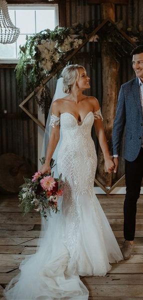 Elegant Off The Shoulder Wedding Dresses, Mermaid Lace Bridal Gowns