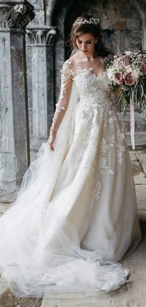 Long Sleeves Appliques Wedding Dresses, Lace Wedding Dresses. 2020 Wedding Dresses