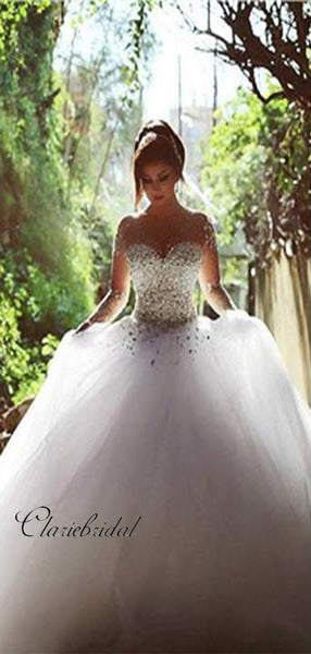 Gorgeous Long Sleeves Beaded Wedding Dresses, Fancy Wedding Dresses